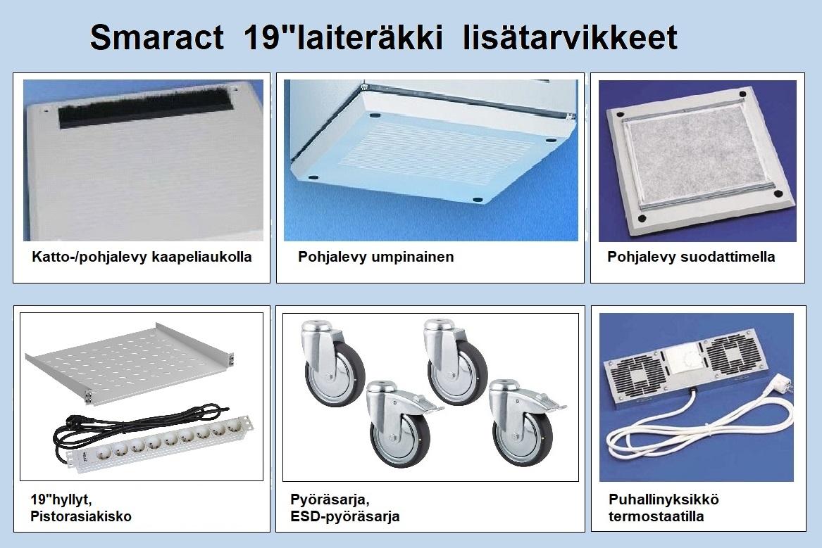 """19""""laitekaappi Smaract lasiovella 9U-24U"""
