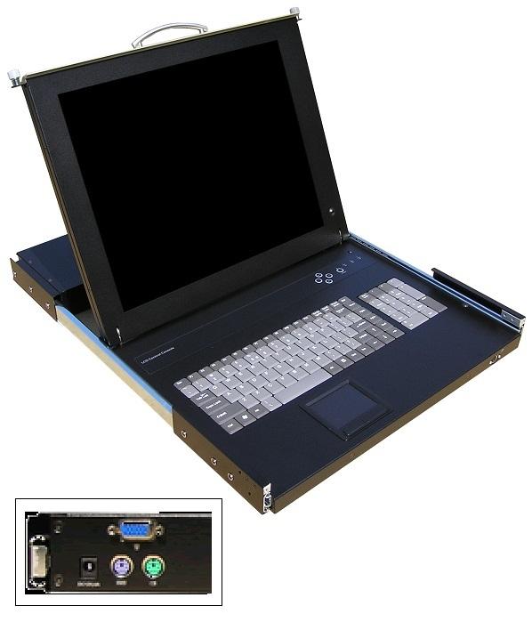 Näyttö + näppäimistökonsoli katso kohdasta: Monitoritelineet, laitetelineet