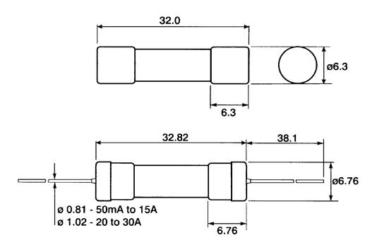 Nopea 6,3x32 mm keraaminen sulake