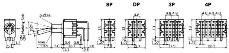 Vipukytkimet Nikkai M-sarja piirilevyasennukseen, vertical mounting