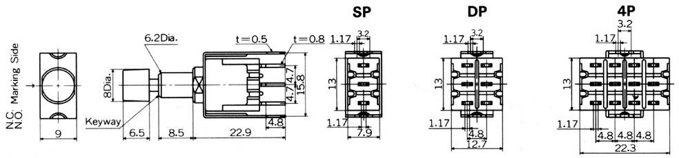 Nikkai MB-sarjan painokytkimet piirilevyasennukseen, straight mounting