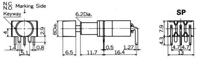 Nikkai MB-sarjan painokytkimet piirilevyasennukseen, right angle mounting