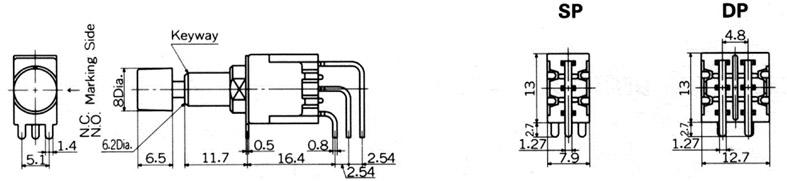 Nikkai MB-sarjan painokytkimet piirilevyasennukseen, vertical mounting