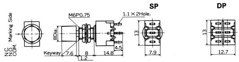 """Nikkai MB-""""light touch""""-sarjan pyöreät painokytkimet etulevyasennukseen"""