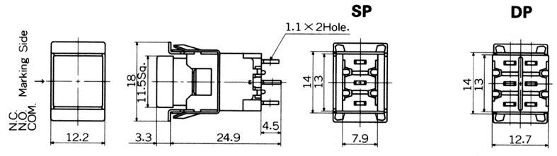 """Nikkai MB-""""light touch""""-sarjan neliömalliset painokytkimet etulevyasennukseen"""