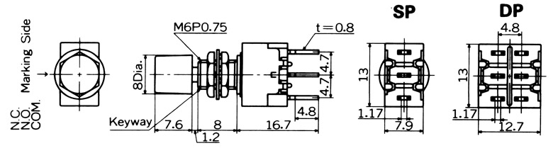 """Nikkai MB-""""light touch""""-sarjan painokytkimet piirilevyasennukseen, straight mounting"""