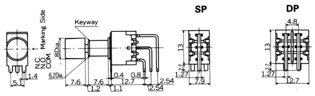 """Nikkai MB-""""light touch""""-sarjan painokytkimet piirilevyasennukseen, vertical mounting"""