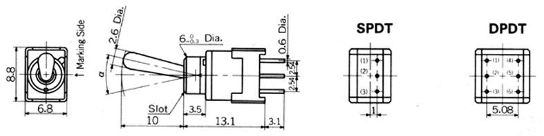 Nikkai Circuitboy-sarjan vipukytkimet piirilevyasennukseen, straight mounting