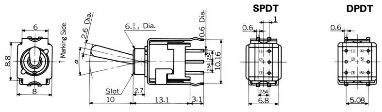 Nikkai Circuitboy-sarjan vipukytkimet piirilevyasennukseen, straight mounting + tukikehys