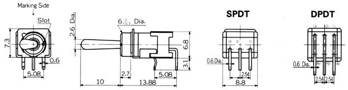 Nikkai Circuitboy-sarjan vipukytkimet piirilevyasennukseen, right angle + tukikehys