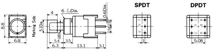 Nikkai Circuitboy-sarjan painokytkimet piirilevyasennukseen, straight mounting