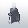 Nikkai Circuitboy-sarjan painokytkimet  piirilevyasennukseen,  straight mounting + tukikehys