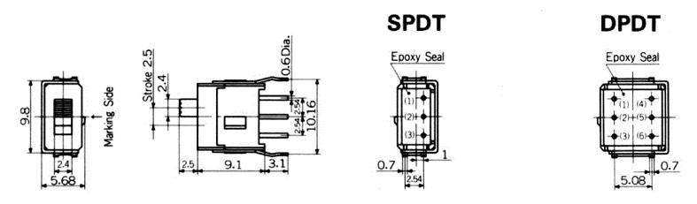 Nikkai Circuitboy-sarjan liukukytkimet piirilevyasennukseen, straight mounting + tukikehys
