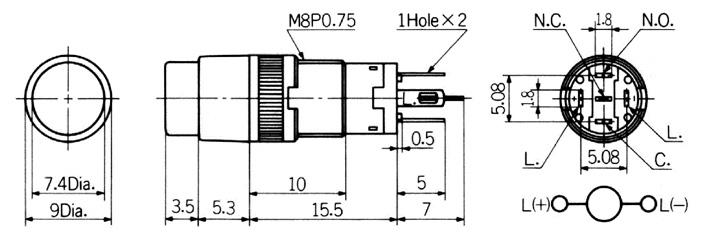 Nikkai HB-sarjan valopainike, pyöreä