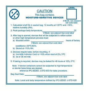 IPC/JEDEC varoitustarra pussiin