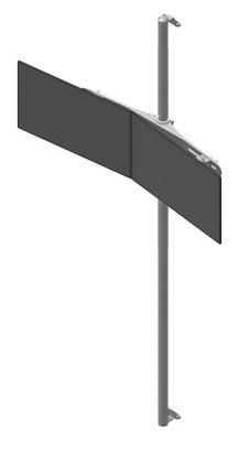 Seinäteline 2 monitoria rinnakkain