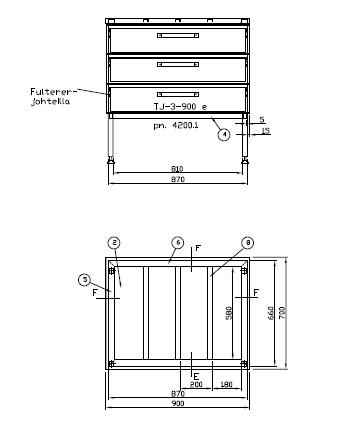 rst-pöytä 900x700mm, laatikostolla