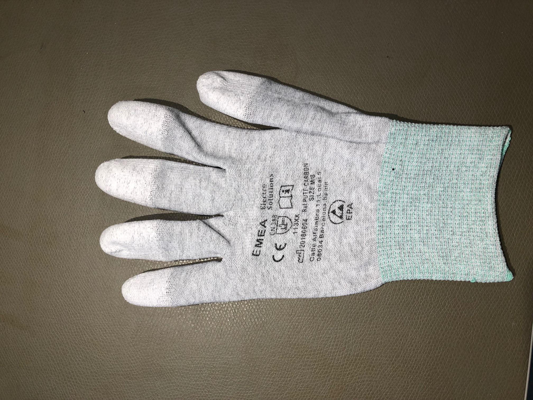 ESD-käsine,CA-kuitu,PU-sormet, M(8)