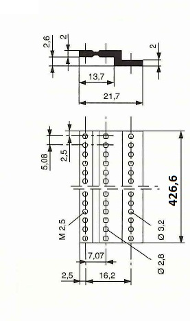 Z-profiili DIN41612-liittimille 84H