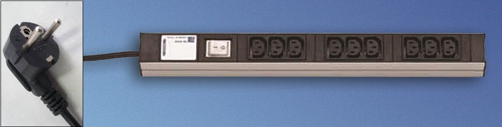 """PDU (19"""") 9xC13 +Kytkin,shuko-johto"""