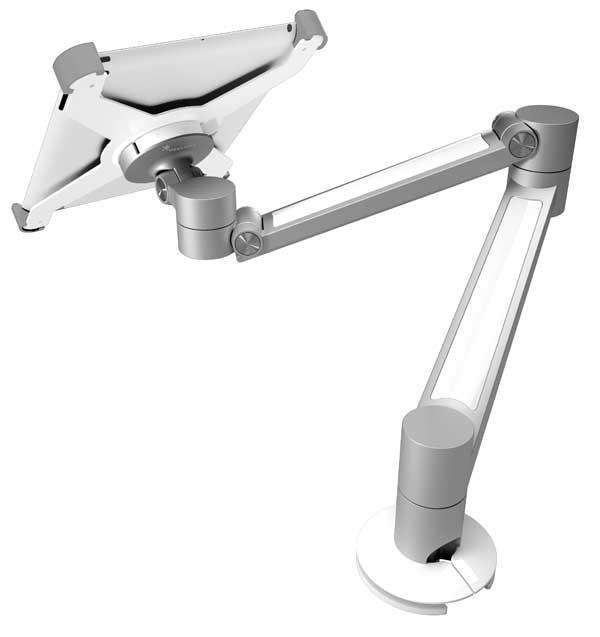 iPad -pöytäteline, hopea/valkoinen