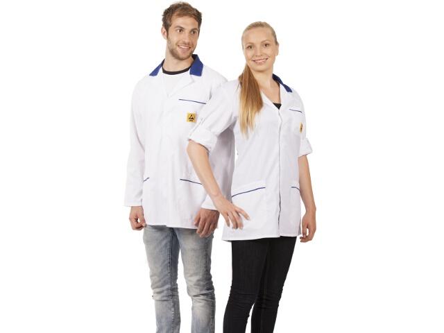 ESD-takki, valkoinen/sininen, M