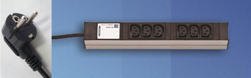 DI-strip 6xC13, schuko-johto
