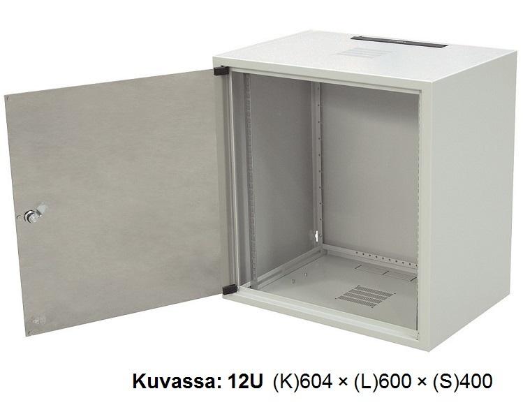 """19""""seinäkaappi  6U (S)400, lasiovi"""