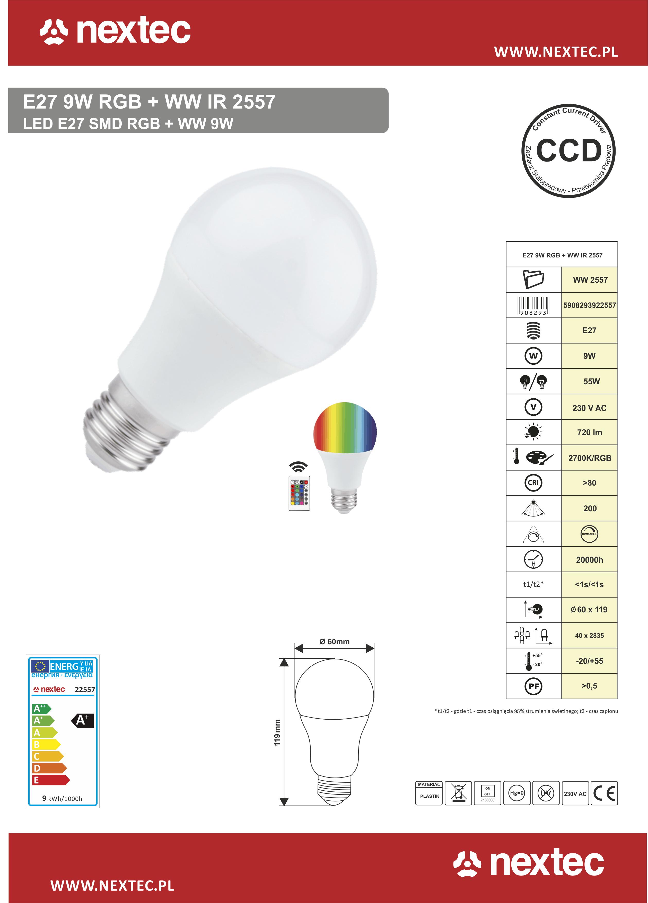 Ledlamppu E27 9W WW+RGBkauko-ohjain