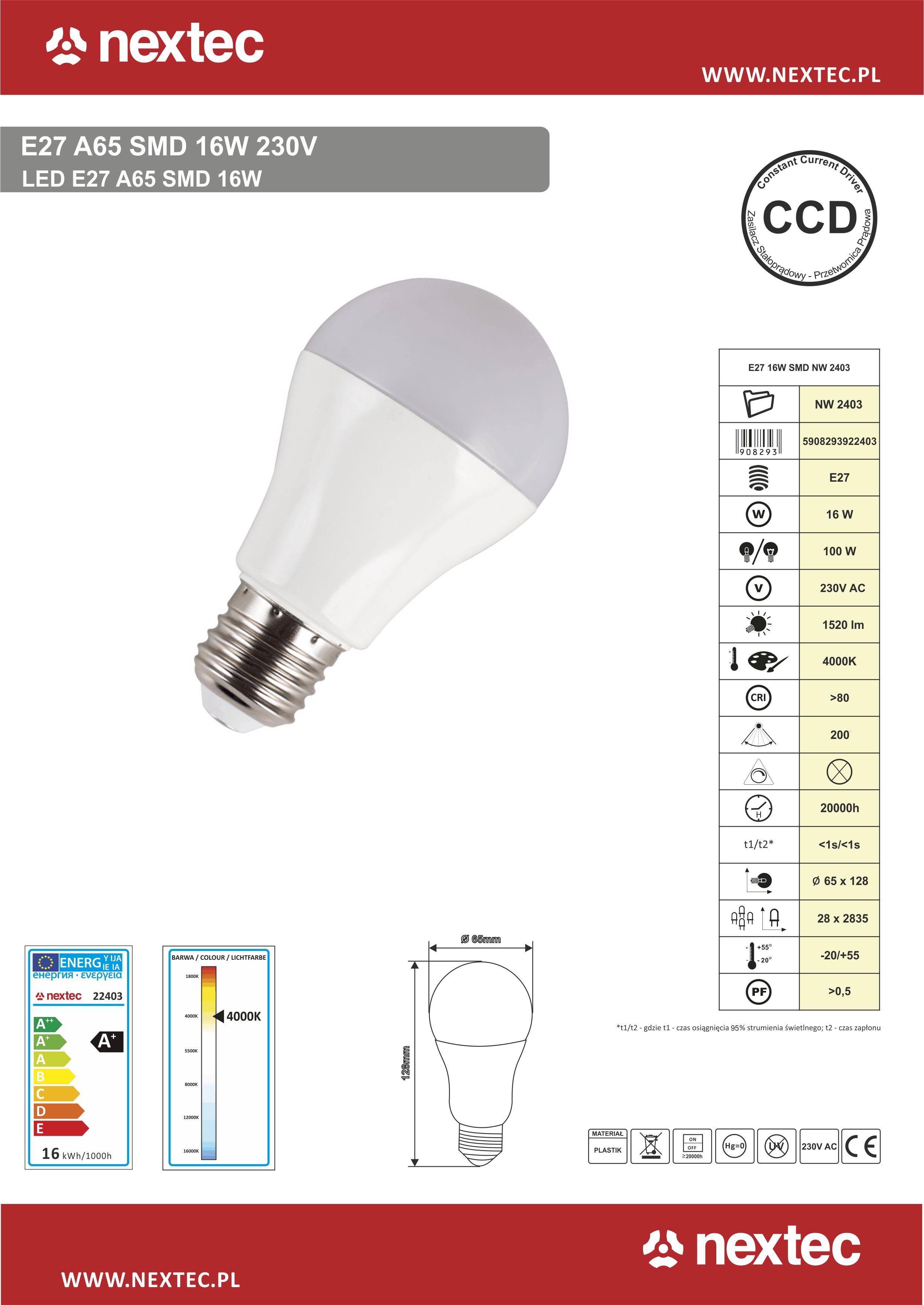 Ledlamppu E27 16W 4000K 1520lm 230V