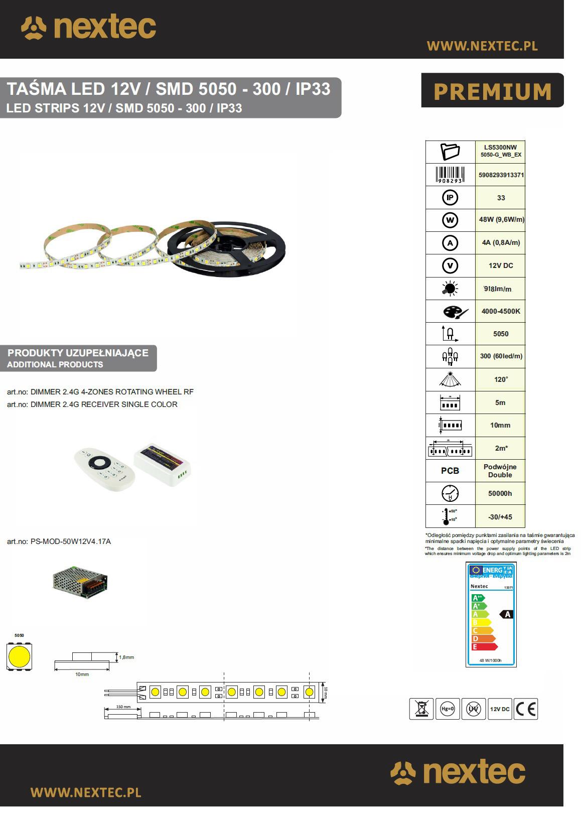 Lednauha 12V 9,6W 4000K IP33 900lm